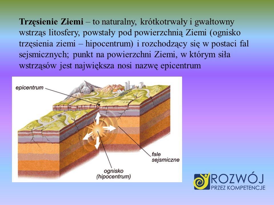 Trzęsienie Ziemi – to naturalny, krótkotrwały i gwałtowny wstrząs litosfery, powstały pod powierzchnią Ziemi (ognisko trzęsienia ziemi – hipocentrum) i rozchodzący się w postaci fal sejsmicznych; punkt na powierzchni Ziemi, w którym siła wstrząsów jest największa nosi nazwę epicentrum