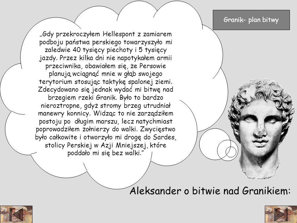 Aleksander o bitwie nad Granikiem: