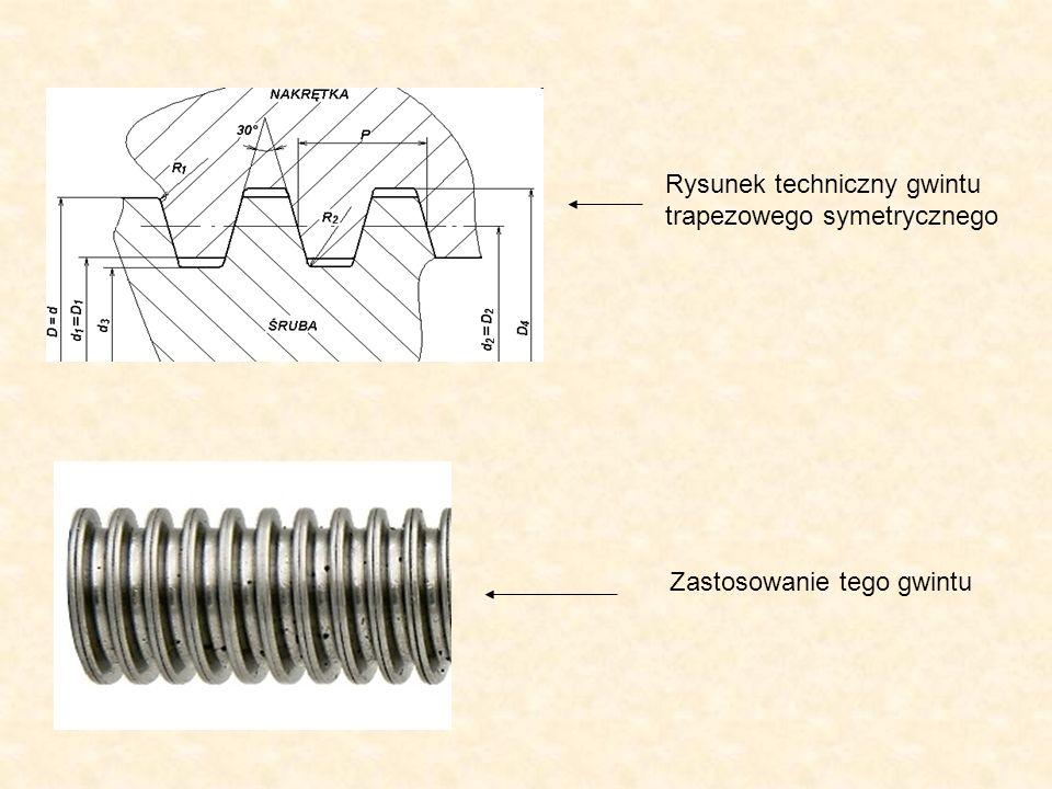 Rysunek techniczny gwintu trapezowego symetrycznego