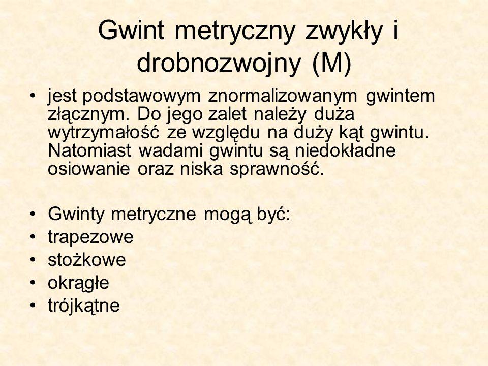 Gwint metryczny zwykły i drobnozwojny (M)