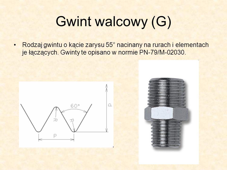 Gwint walcowy (G) Rodzaj gwintu o kącie zarysu 55° nacinany na rurach i elementach je łączących.