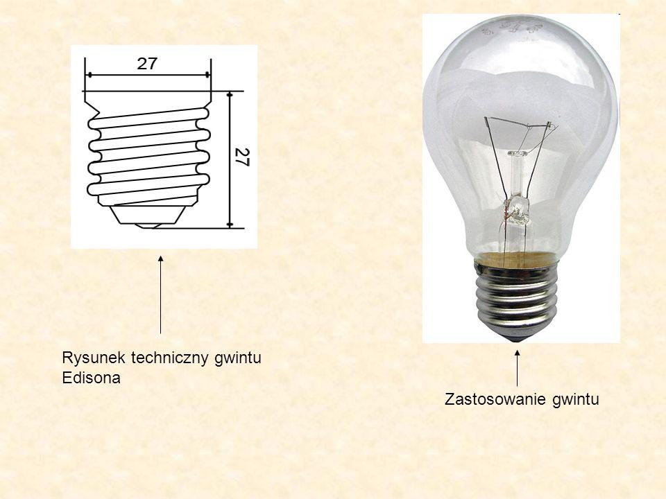 Rysunek techniczny gwintu Edisona