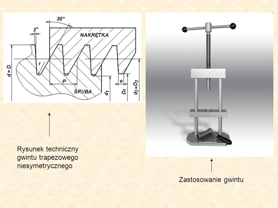 Rysunek techniczny gwintu trapezowego niesymetrycznego