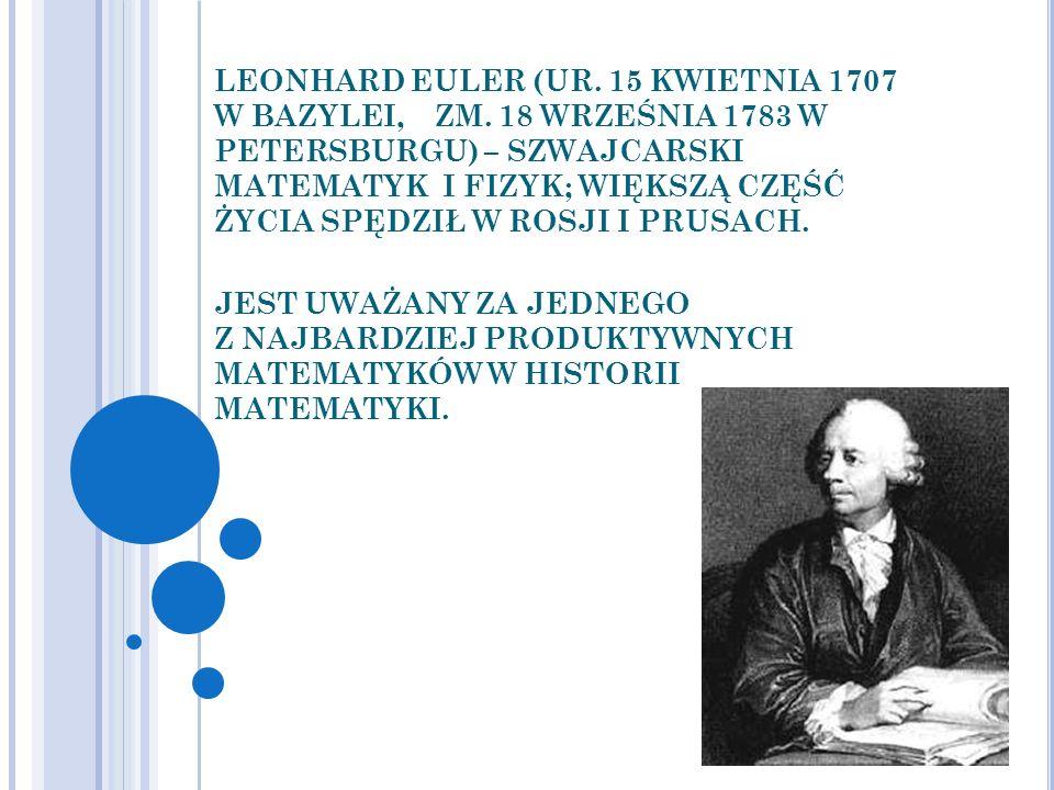LEONHARD EULER (UR. 15 KWIETNIA 1707 W BAZYLEI, ZM