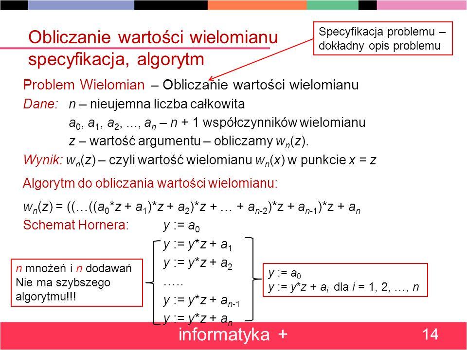 Obliczanie wartości wielomianu specyfikacja, algorytm