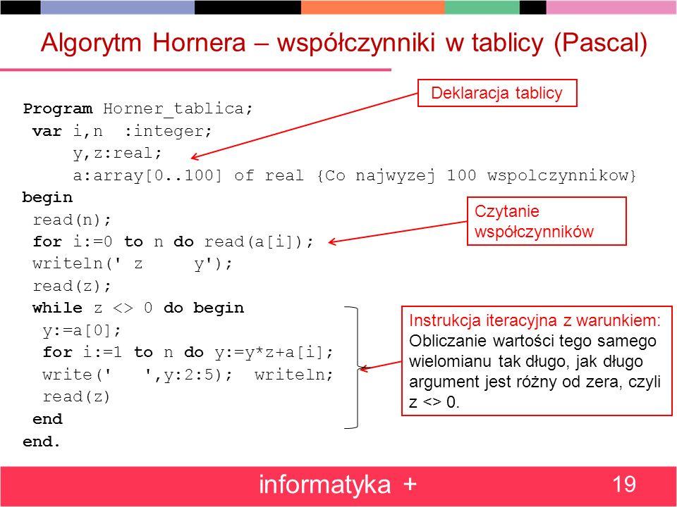 Algorytm Hornera – współczynniki w tablicy (Pascal)
