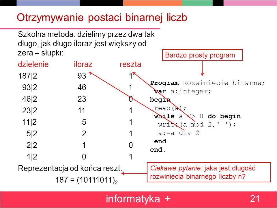 Otrzymywanie postaci binarnej liczb