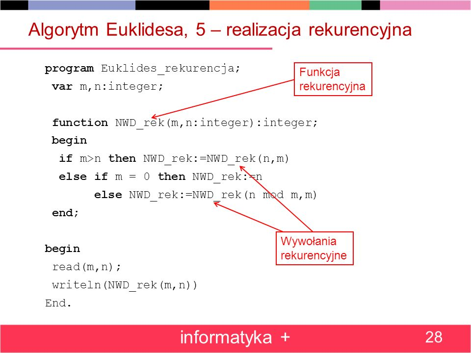 Algorytm Euklidesa, 5 – realizacja rekurencyjna