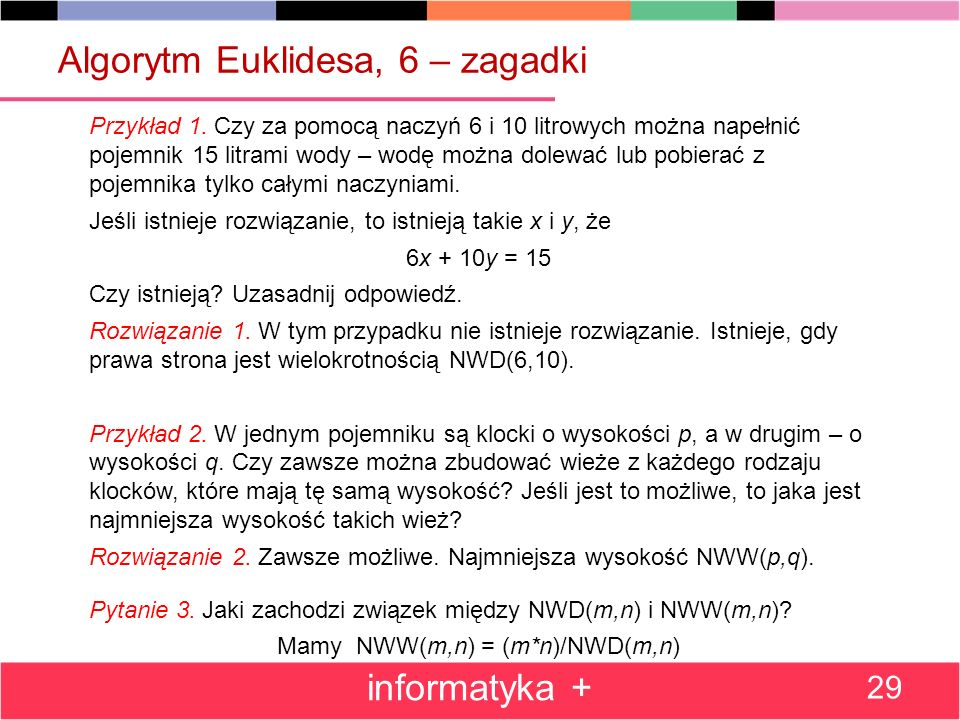 Algorytm Euklidesa, 6 – zagadki