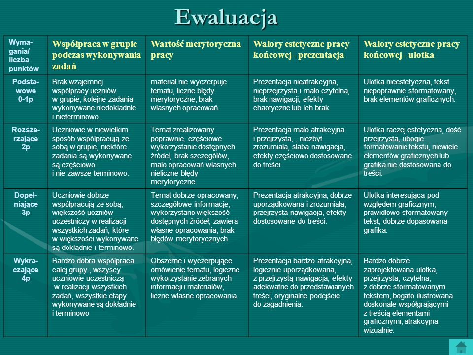 Ewaluacja Współpraca w grupie podczas wykonywania zadań