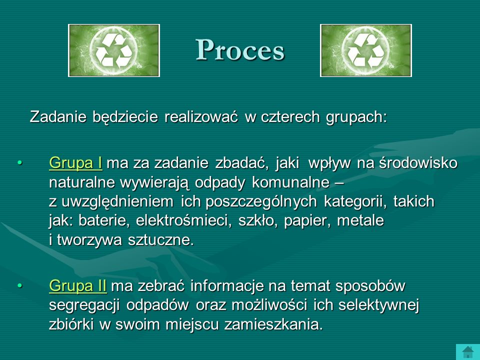 Proces Zadanie będziecie realizować w czterech grupach: