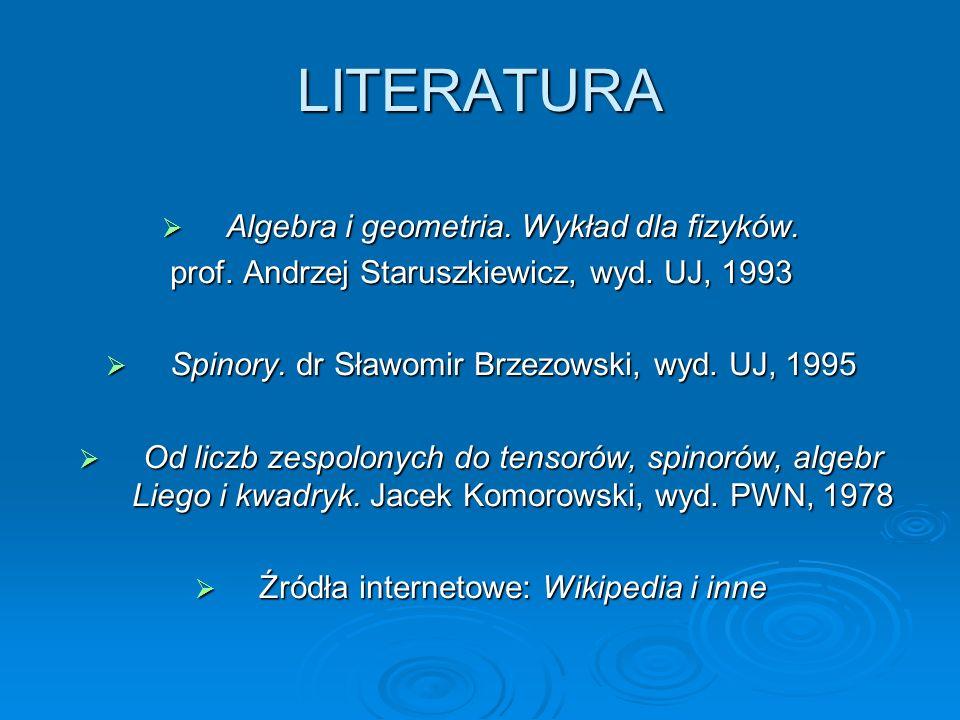 LITERATURA Algebra i geometria. Wykład dla fizyków.