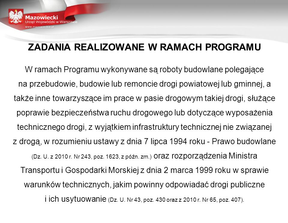 ZADANIA REALIZOWANE W RAMACH PROGRAMU