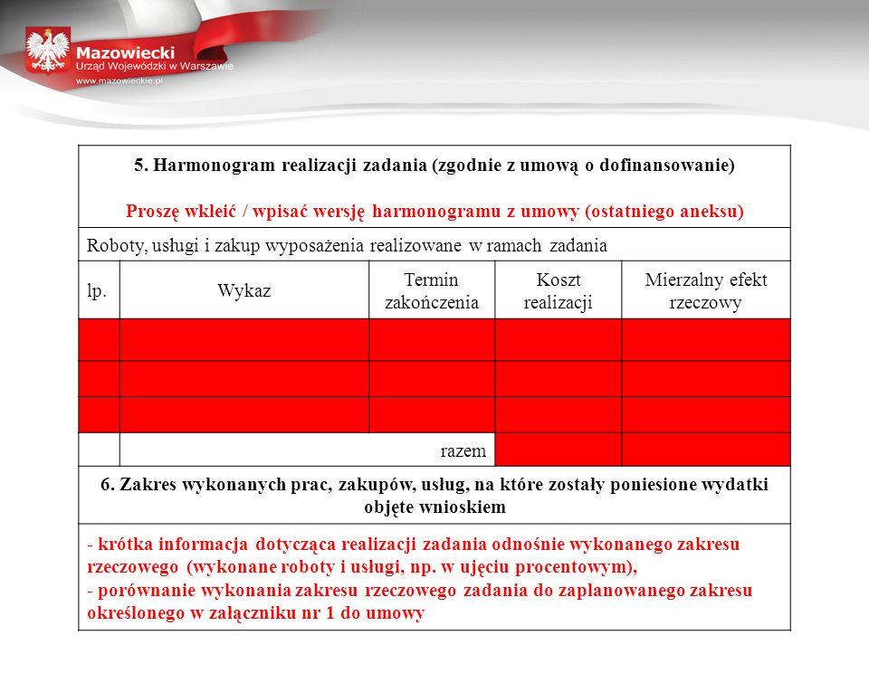 5. Harmonogram realizacji zadania (zgodnie z umową o dofinansowanie)