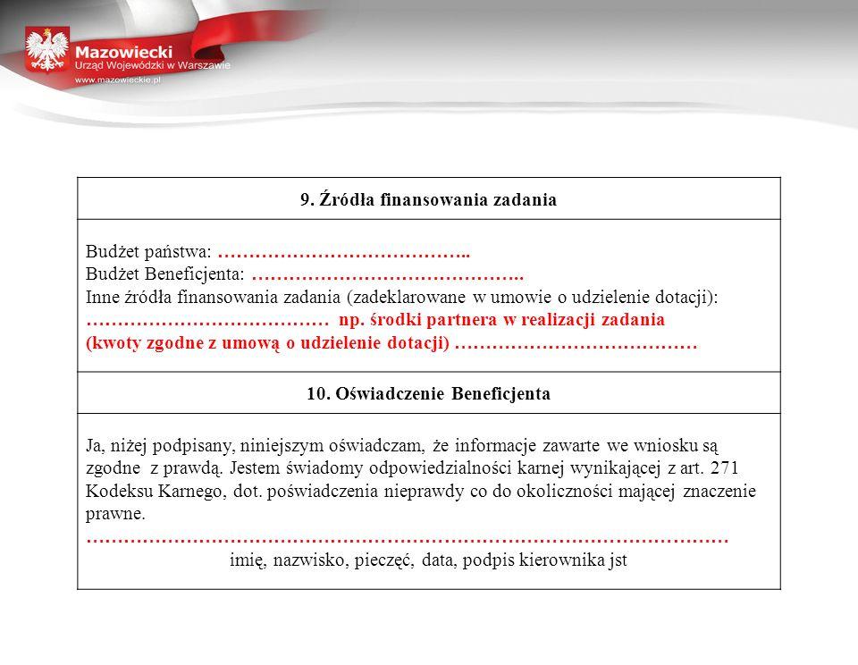 9. Źródła finansowania zadania 10. Oświadczenie Beneficjenta