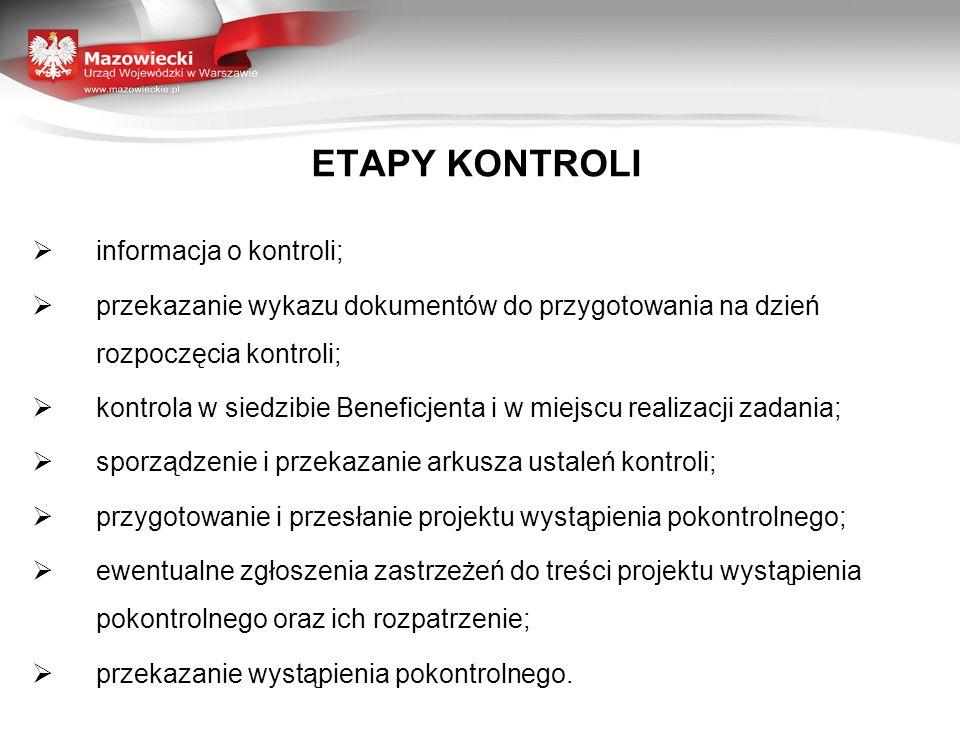 ETAPY KONTROLI informacja o kontroli;
