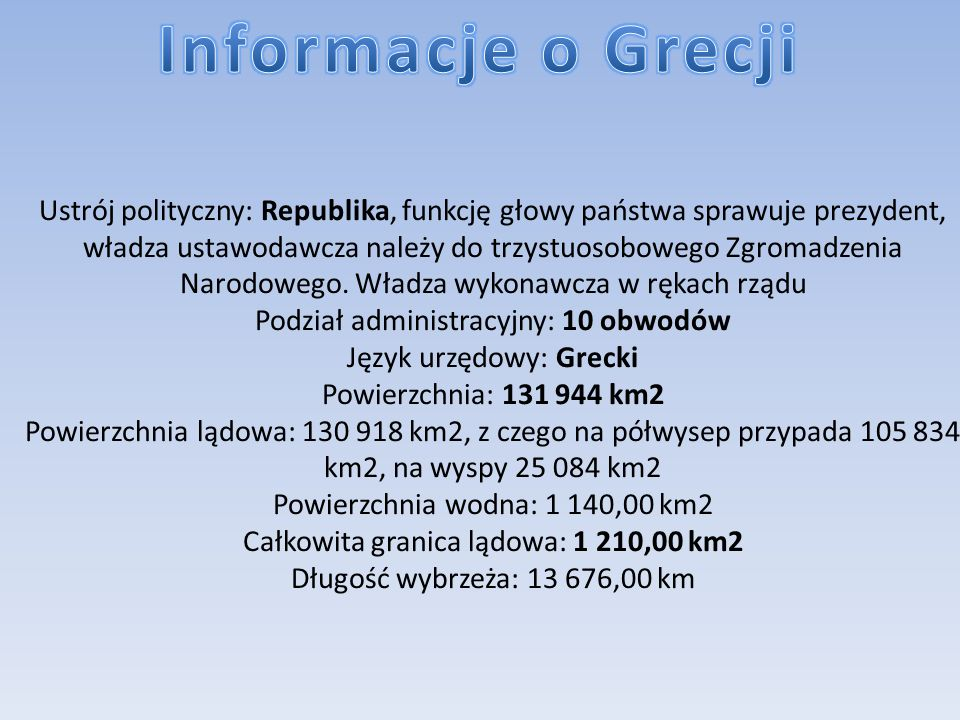Informacje o Grecji