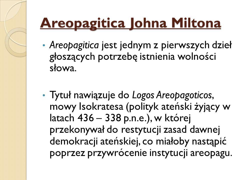 Areopagitica Johna Miltona