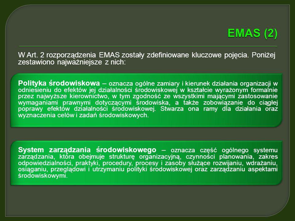 EMAS (2) W Art. 2 rozporządzenia EMAS zostały zdefiniowane kluczowe pojęcia. Poniżej zestawiono najważniejsze z nich: