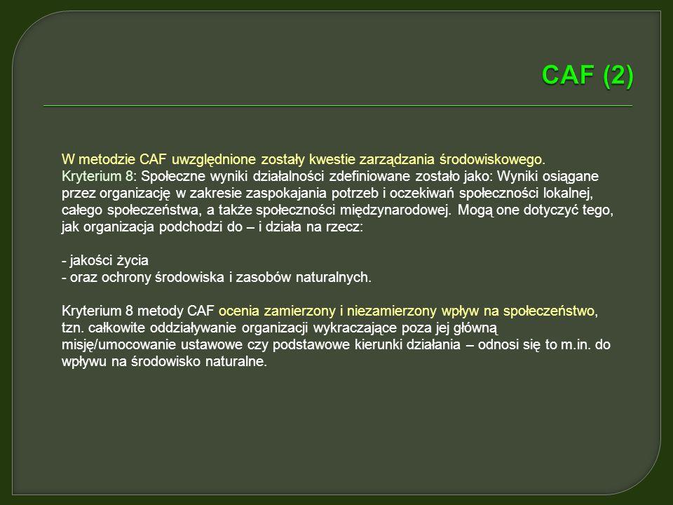 CAF (2) W metodzie CAF uwzględnione zostały kwestie zarządzania środowiskowego.