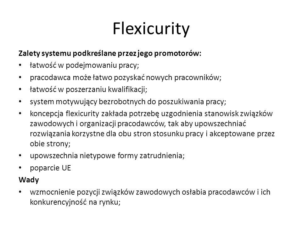 Flexicurity Zalety systemu podkreślane przez jego promotorów: