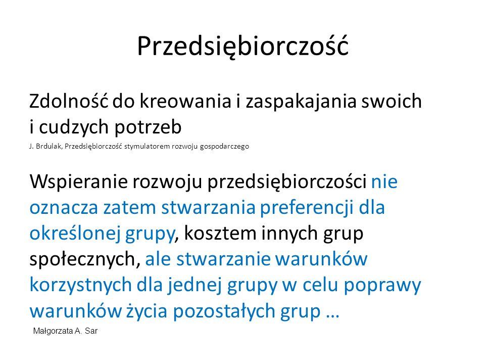 Przedsiębiorczość Zdolność do kreowania i zaspakajania swoich i cudzych potrzeb. J. Brdulak, Przedsiębiorczość stymulatorem rozwoju gospodarczego.