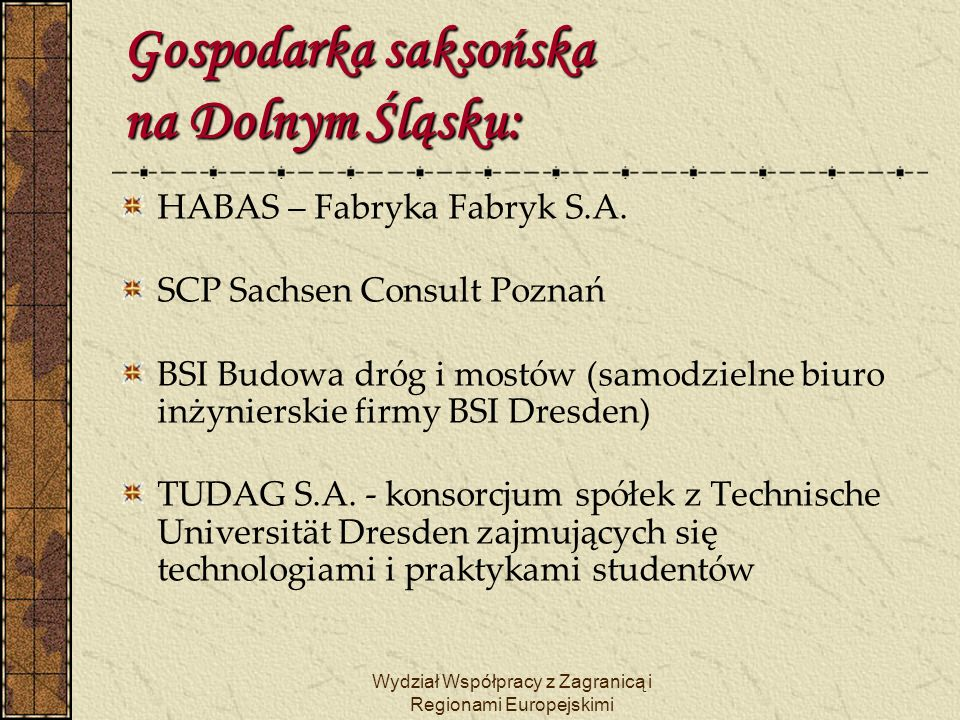 Gospodarka saksońska na Dolnym Śląsku: