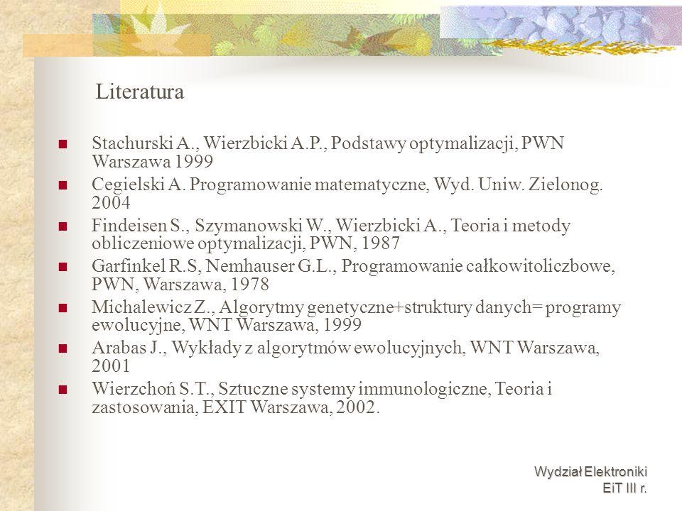 Literatura Stachurski A., Wierzbicki A.P., Podstawy optymalizacji, PWN Warszawa 1999.