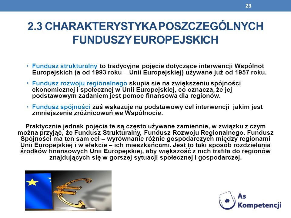 2.3 CHARAKTERYSTYKA POSZCZEGÓLNYCH FUNDUSZY EUROPEJSKICH