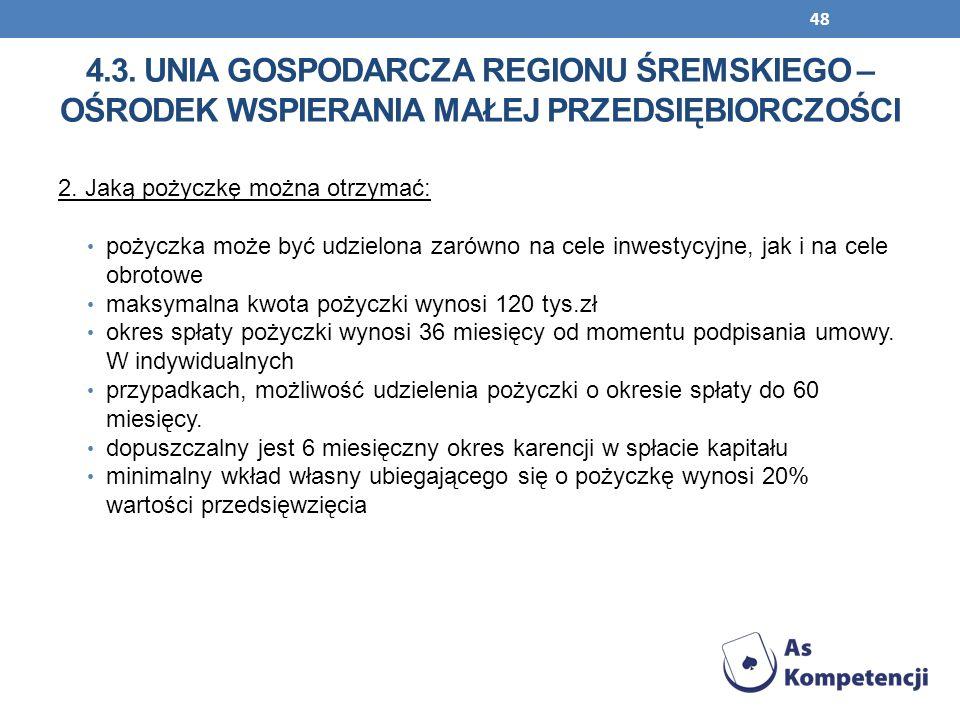 4.3. Unia Gospodarcza Regionu Śremskiego – Ośrodek Wspierania Małej Przedsiębiorczości
