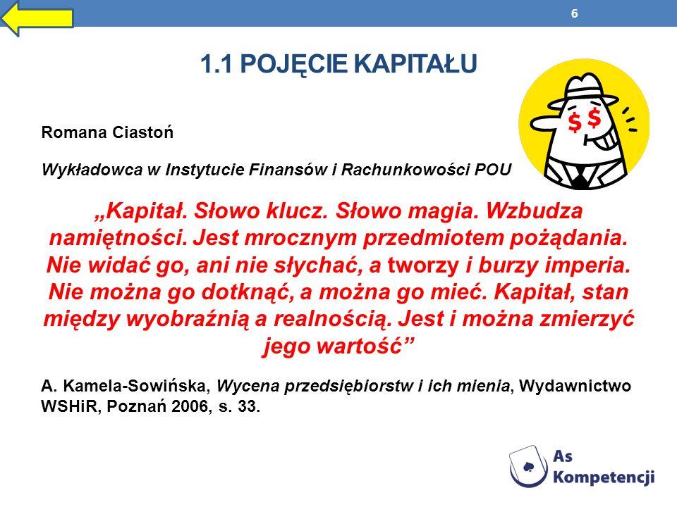 1.1 Pojęcie kapitału Romana Ciastoń. Wykładowca w Instytucie Finansów i Rachunkowości POU.