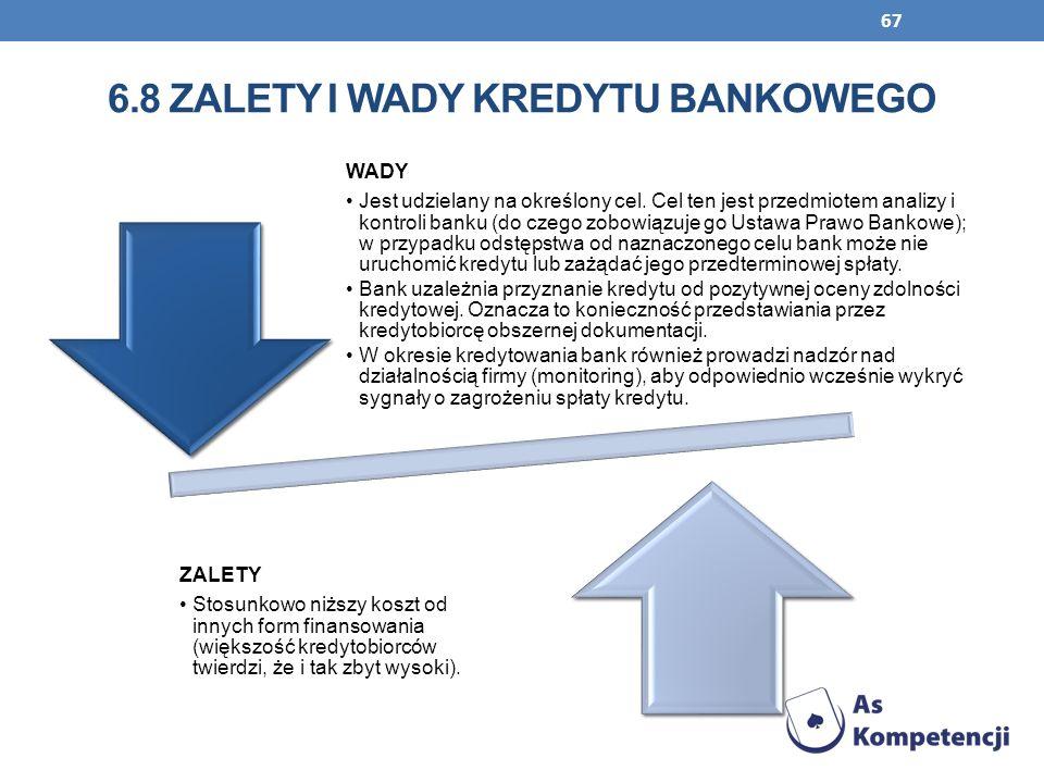 6.8 Zalety i wady kredytu bankowego