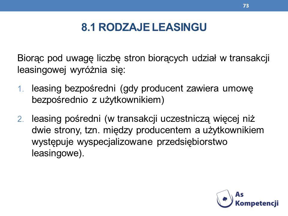 8.1 rodzaje leasingu Biorąc pod uwagę liczbę stron biorących udział w transakcji leasingowej wyróżnia się: