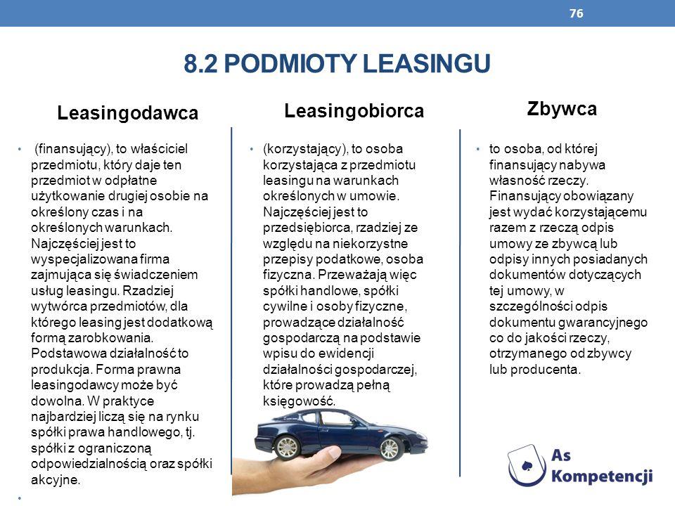 8.2 Podmioty leasingu Zbywca Leasingodawca Leasingobiorca