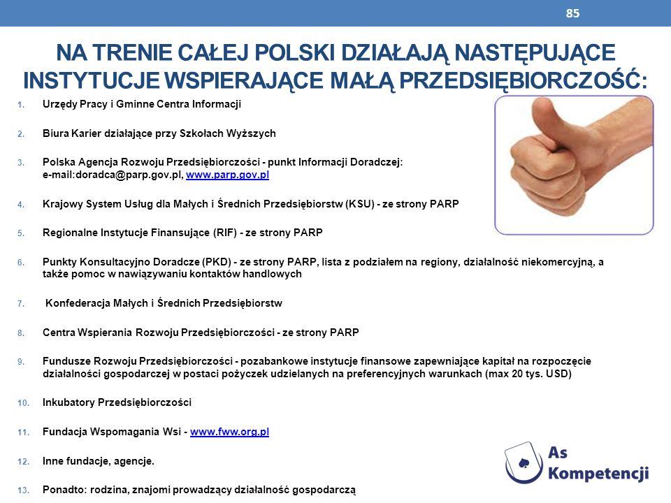 Na trenie całej Polski działają następujące instytucje wspierające małą Przedsiębiorczość: