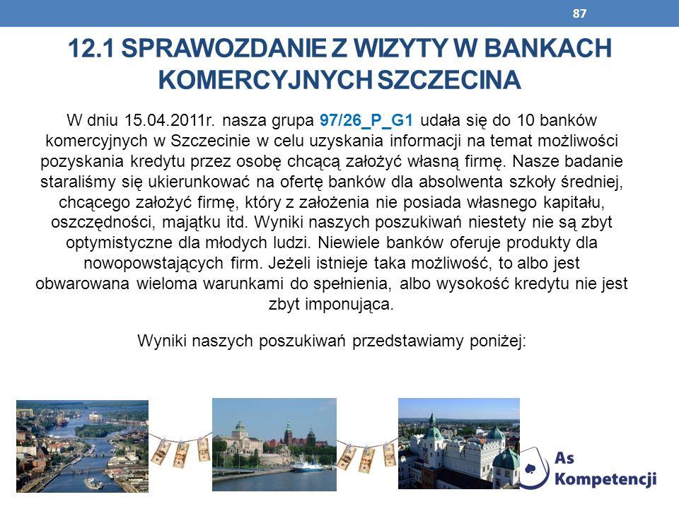12.1 Sprawozdanie z wizyty w bankach komercyjnych szczecina