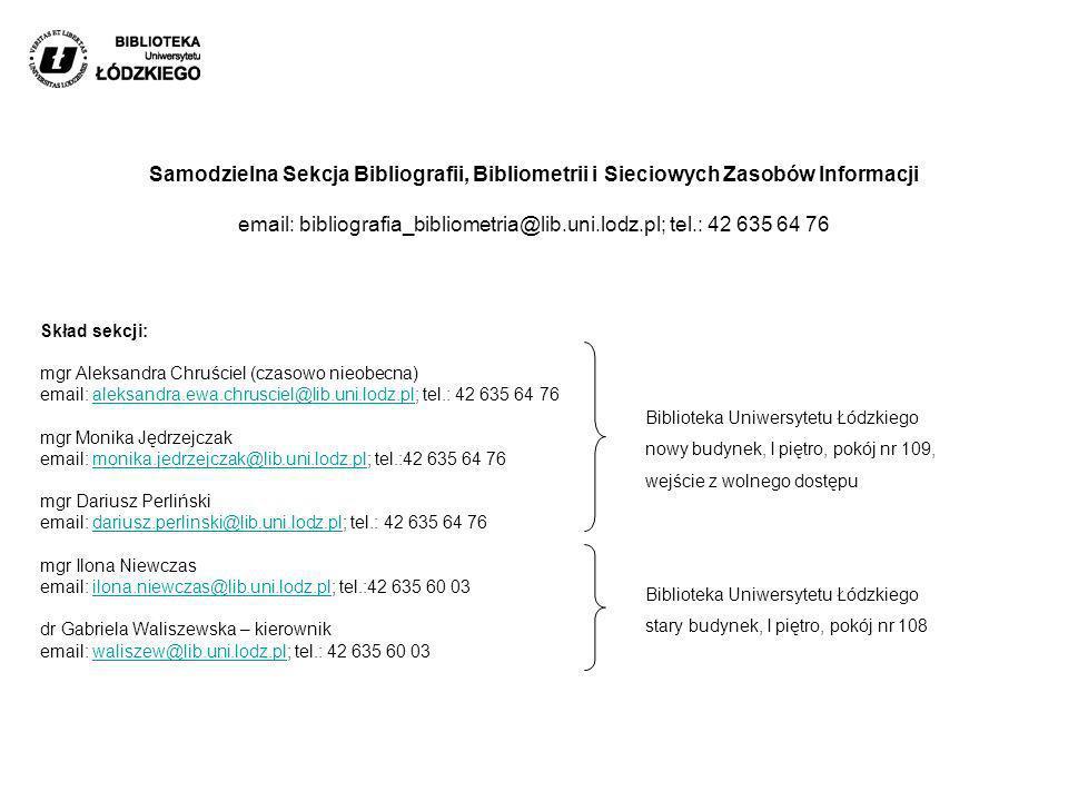 Samodzielna Sekcja Bibliografii, Bibliometrii i Sieciowych Zasobów Informacji