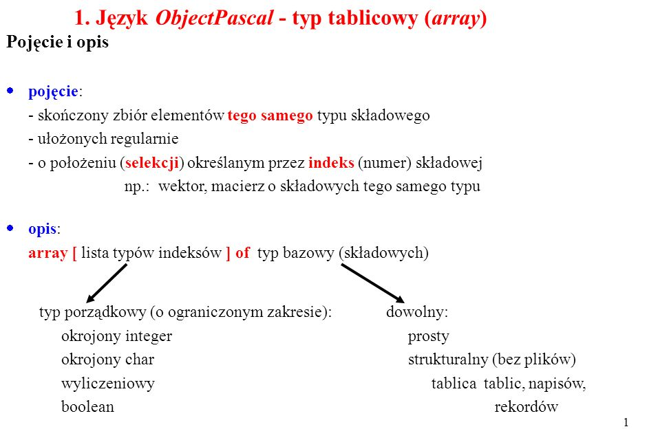 1. Język ObjectPascal - typ tablicowy (array)