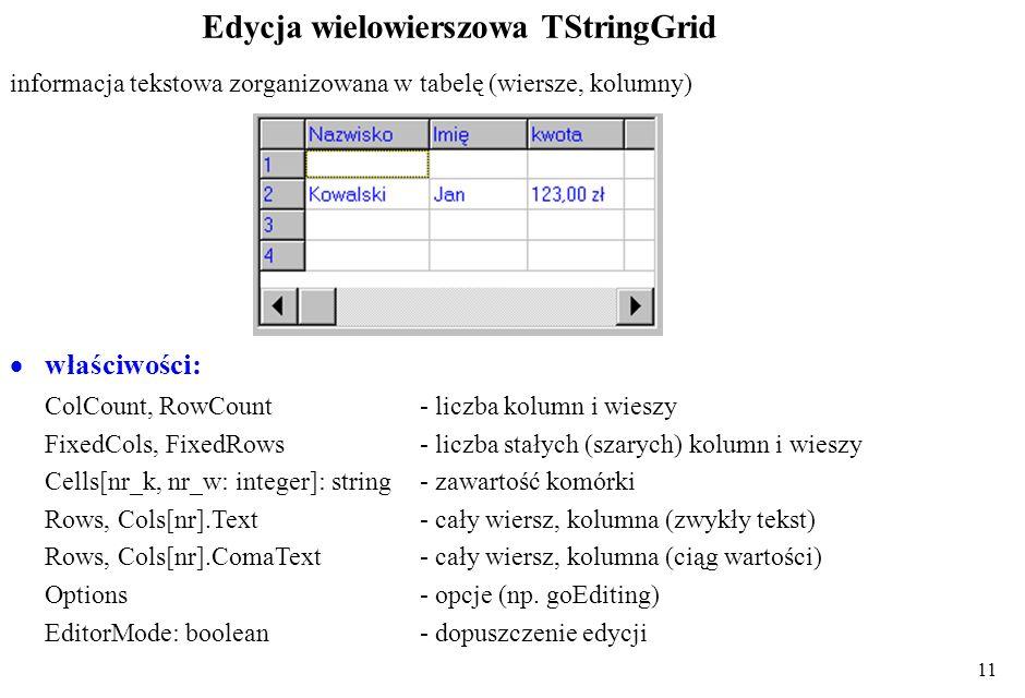 Edycja wielowierszowa TStringGrid