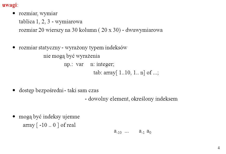 uwagi: rozmiar, wymiar. tablica 1, 2, 3 - wymiarowa. rozmiar 20 wierszy na 30 kolumn ( 20 x 30) - dwuwymiarowa.