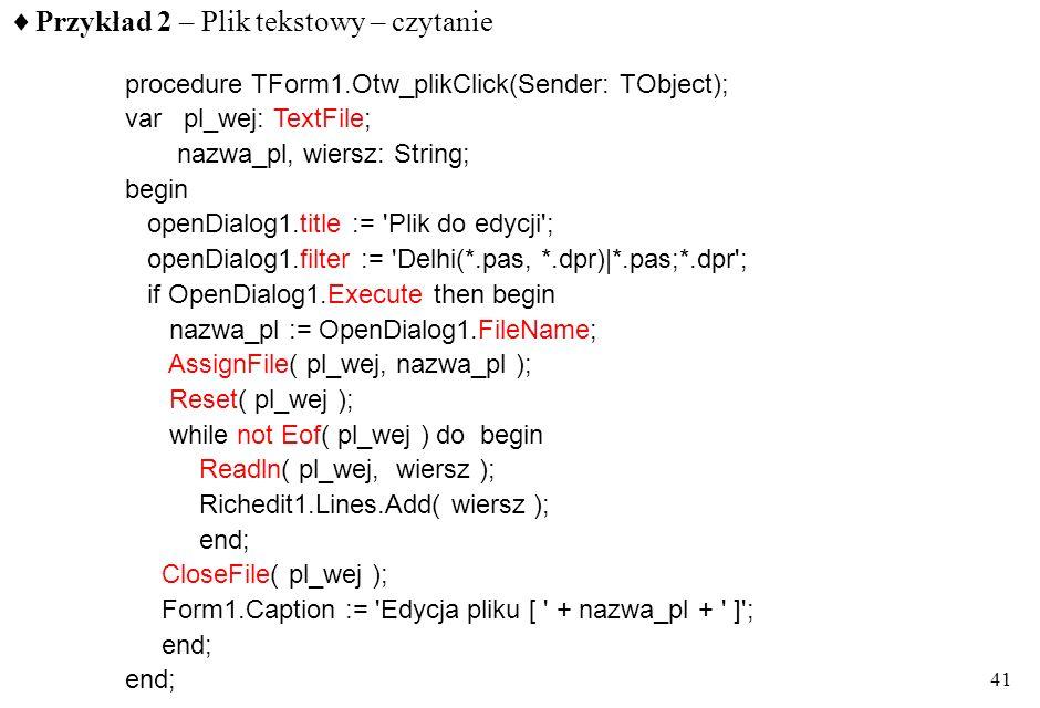 Przykład 2 – Plik tekstowy – czytanie