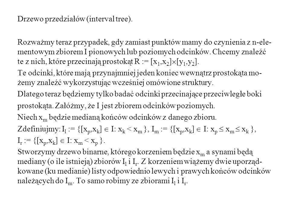 Drzewo przedziałów (interval tree).