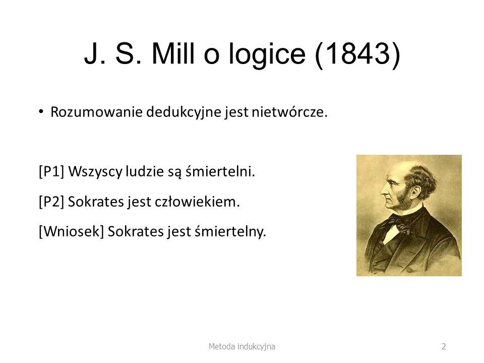 J. S. Mill o logice (1843) Rozumowanie dedukcyjne jest nietwórcze.