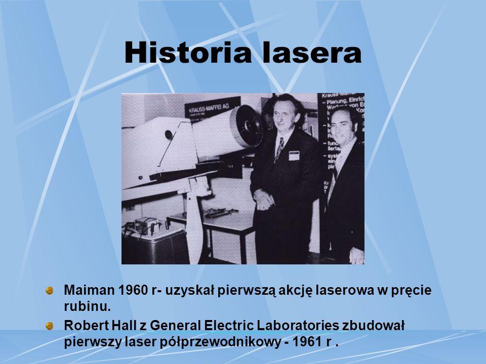 Historia lasera Maiman 1960 r- uzyskał pierwszą akcję laserowa w pręcie rubinu.