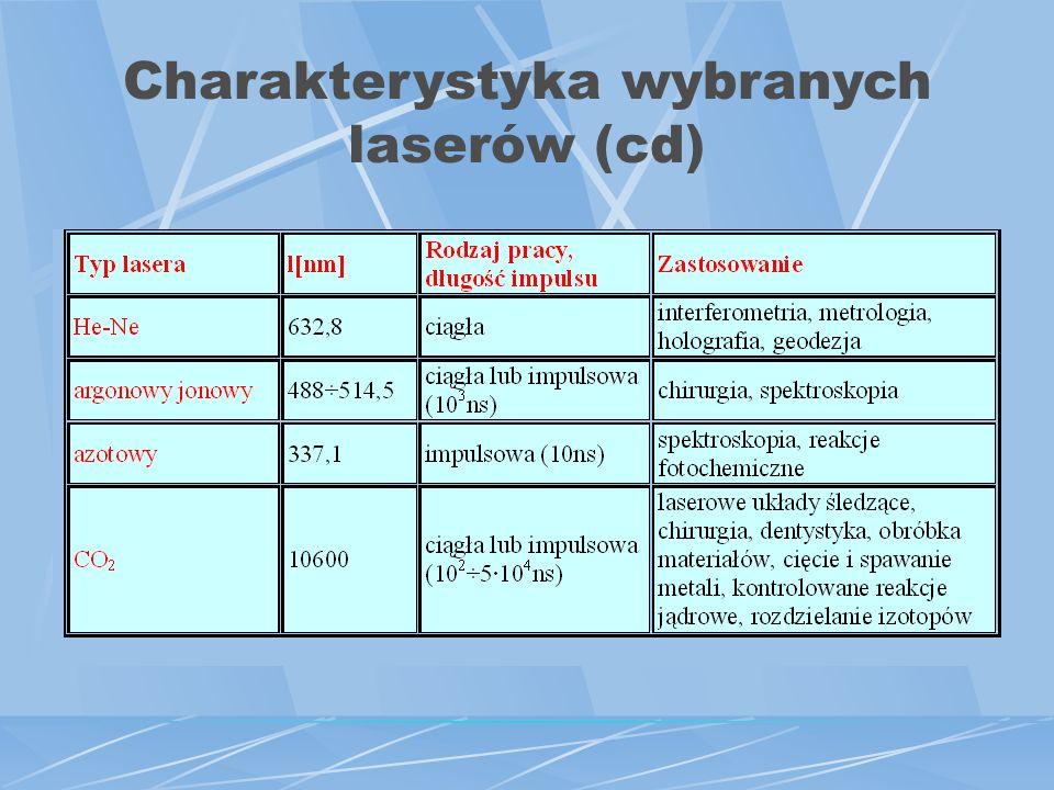 Charakterystyka wybranych laserów (cd)