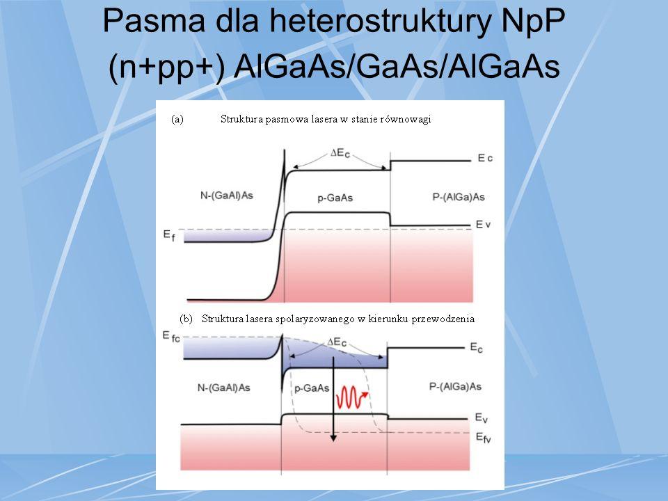 Pasma dla heterostruktury NpP (n+pp+) AlGaAs/GaAs/AlGaAs