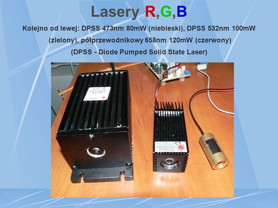 Lasery R,G,B Kolejno od lewej: DPSS 473nm 80mW (niebieski), DPSS 532nm 100mW (zielony), półprzewodnikowy 658nm 120mW (czerwony) (DPSS - Diode Pumped Solid State Laser)