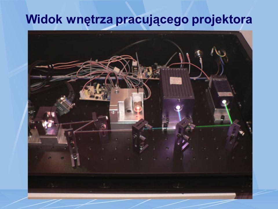 Widok wnętrza pracującego projektora