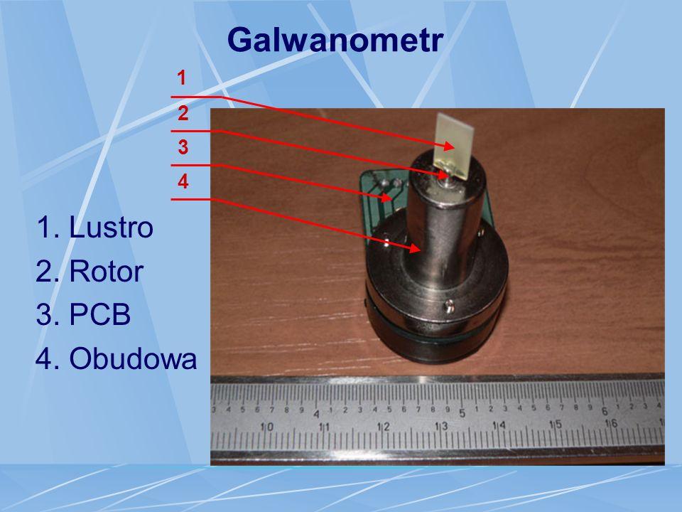 Galwanometr 1 2 3 4 1. Lustro 2. Rotor 3. PCB 4. Obudowa