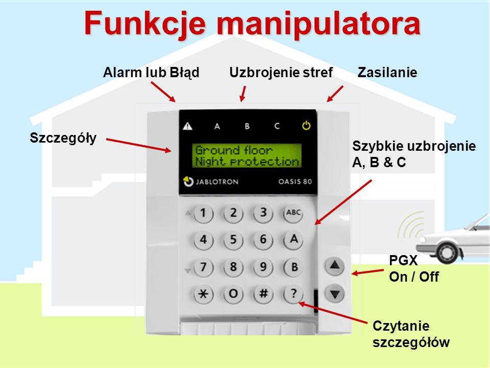 Funkcje manipulatora Alarm lub Błąd Uzbrojenie stref Zasilanie